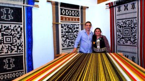 Guillermo Bert with Mapuche weaver