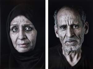 """Ghada and Sayed"", taken from the ""Our House is on Fire"" series, 2013. Digital C-print and ink."